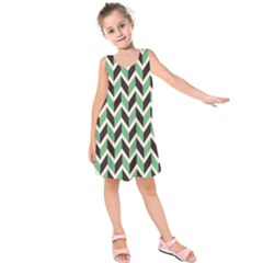 Zigzag Chevron Pattern Green Black Kids  Sleeveless Dress