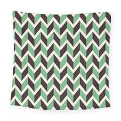 Zigzag Chevron Pattern Green Black Square Tapestry (large)
