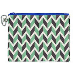 Zigzag Chevron Pattern Green Black Canvas Cosmetic Bag (xxl)