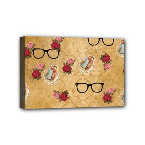 Vintage Glasses Beige Mini Canvas 6  X 4