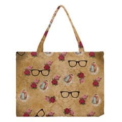 Vintage Glasses Beige Medium Tote Bag