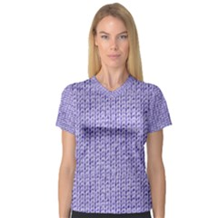 Knitted Wool Lilac V Neck Sport Mesh Tee