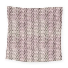 Knitted Wool Pink Light Square Tapestry (large)