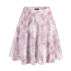 Pink Floral High Waist Skirt