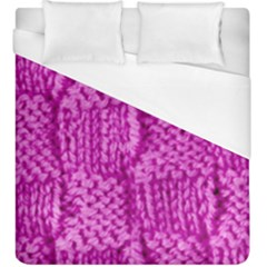 Knitted Wool Square Green Duvet Cover (king Size)