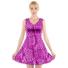 Knitted Wool Square Green V Neck Sleeveless Skater Dress
