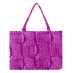 Knitted Wool Square Green Medium Tote Bag