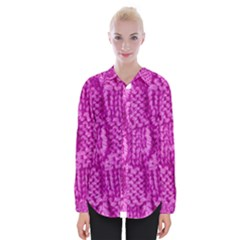 Knitted Wool Square Green Womens Long Sleeve Shirt