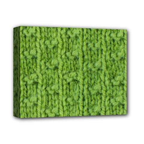 Knitted Wool Chain Green Deluxe Canvas 14  X 11