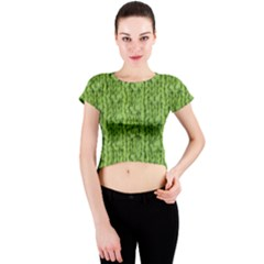 Knitted Wool Chain Green Crew Neck Crop Top