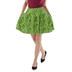 Knitted Wool Chain Green A Line Pocket Skirt