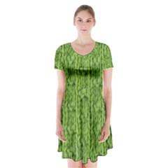 Knitted Wool Chain Green Short Sleeve V Neck Flare Dress