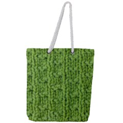 Knitted Wool Chain Green Full Print Rope Handle Tote (large)