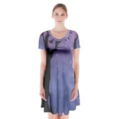 Silhouette Tree Short Sleeve V Neck Flare Dress