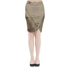 Camera Old Midi Wrap Pencil Skirt