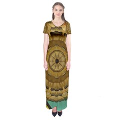 Kaleidoscope Dream Illusion Short Sleeve Maxi Dress