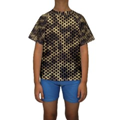 Honeycomb Beehive Nature Kids  Short Sleeve Swimwear