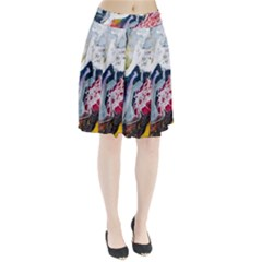 Abstract Art Detail Painting Pleated Skirt