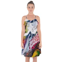 Abstract Art Detail Painting Ruffle Detail Chiffon Dress