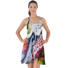 Abstract Art Detail Painting Show Some Back Chiffon Dress