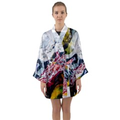 Abstract Art Detail Painting Long Sleeve Kimono Robe