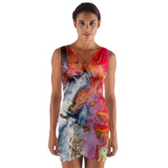 Art Abstract Macro Wrap Front Bodycon Dress
