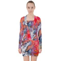 Art Abstract Macro V Neck Bodycon Long Sleeve Dress
