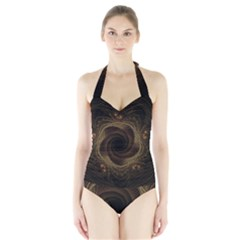 Beads Fractal Abstract Pattern Halter Swimsuit