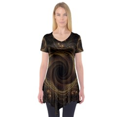 Beads Fractal Abstract Pattern Short Sleeve Tunic