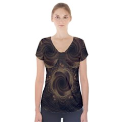 Beads Fractal Abstract Pattern Short Sleeve Front Detail Top