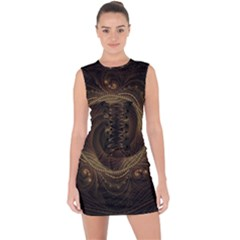 Beads Fractal Abstract Pattern Lace Up Front Bodycon Dress