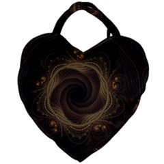 Beads Fractal Abstract Pattern Giant Heart Shaped Tote