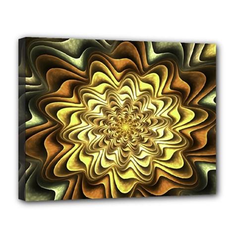 Fractal Flower Petals Gold Canvas 14  X 11