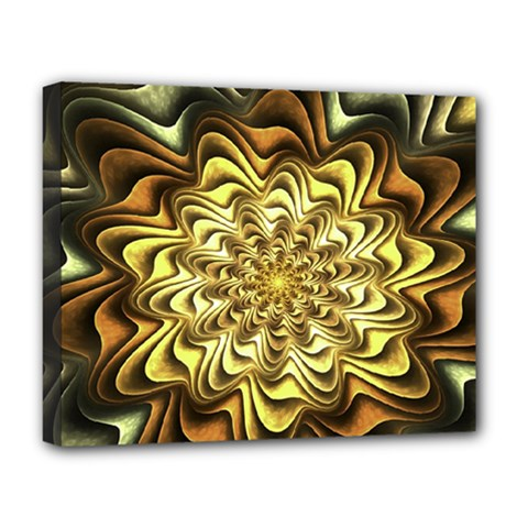Fractal Flower Petals Gold Deluxe Canvas 20  X 16