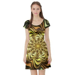 Fractal Flower Petals Gold Short Sleeve Skater Dress