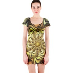 Fractal Flower Petals Gold Short Sleeve Bodycon Dress