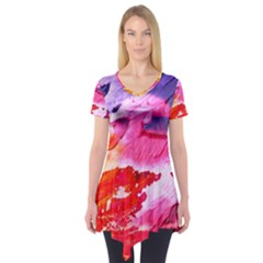 Abstract Art Background Paint Short Sleeve Tunic