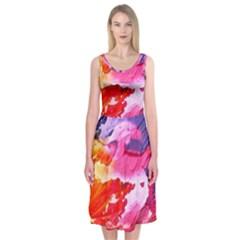 Abstract Art Background Paint Midi Sleeveless Dress