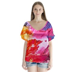 Abstract Art Background Paint V Neck Flutter Sleeve Top