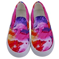 Abstract Art Background Paint Kids  Canvas Slip Ons