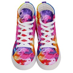Abstract Art Background Paint Women s Hi Top Skate Sneakers