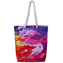 Abstract Art Background Paint Full Print Rope Handle Tote (small)