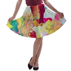 Art Detail Abstract Painting Wax A Line Skater Skirt