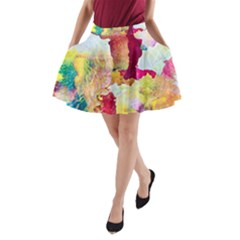 Art Detail Abstract Painting Wax A Line Pocket Skirt