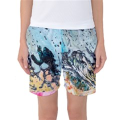 Abstract Structure Background Wax Women s Basketball Shorts