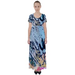 Abstract Structure Background Wax High Waist Short Sleeve Maxi Dress