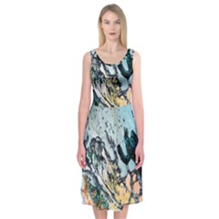 Abstract Structure Background Wax Midi Sleeveless Dress