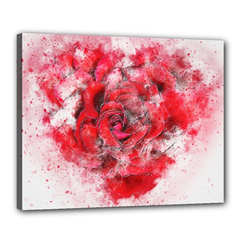 Flower Roses Heart Art Abstract Canvas 20  X 16