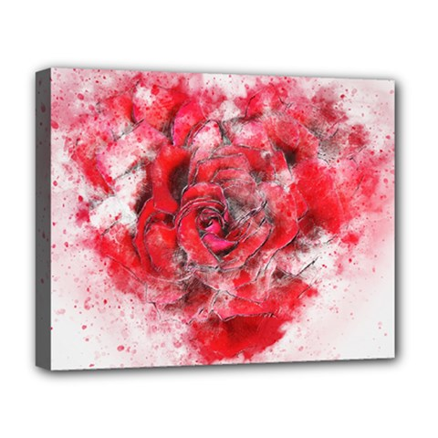 Flower Roses Heart Art Abstract Deluxe Canvas 20  X 16