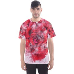 Flower Roses Heart Art Abstract Men s Sports Mesh Tee